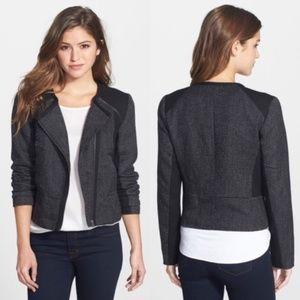 Halogen black tweed moto zip up jacket